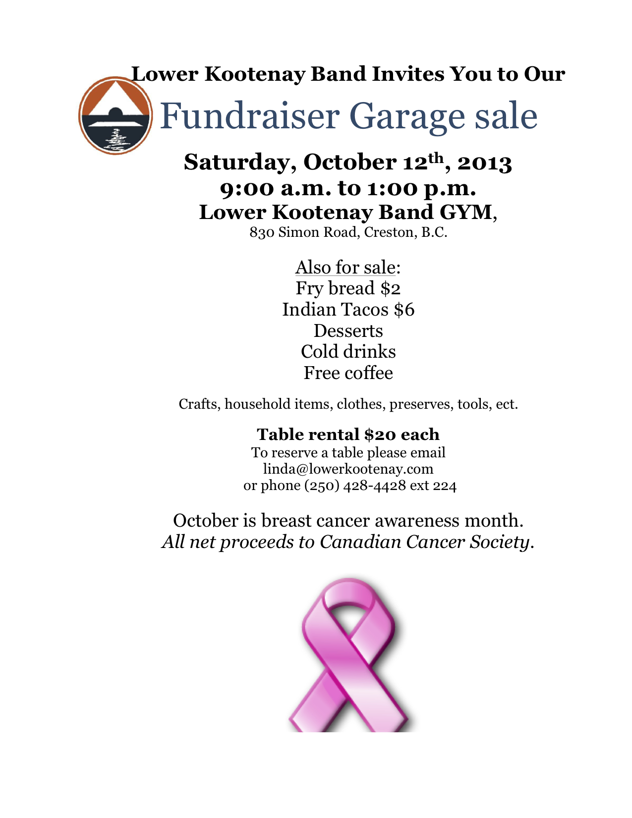 Garage sale.LKB. Oct 12 2013